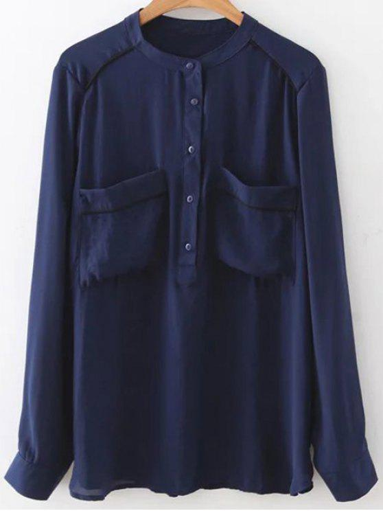 trendy Double Pockets Chiffon Shirt - PURPLISH BLUE M