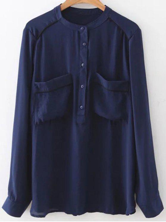 trendy Double Pockets Chiffon Shirt - PURPLISH BLUE M