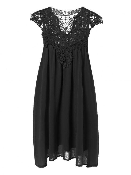 ladies Plus Size Lace Chiffon Dress - BLACK 3XL