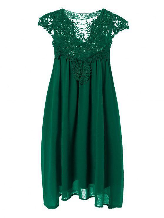 hot Plus Size Lace Chiffon Dress - BLACKISH GREEN 3XL