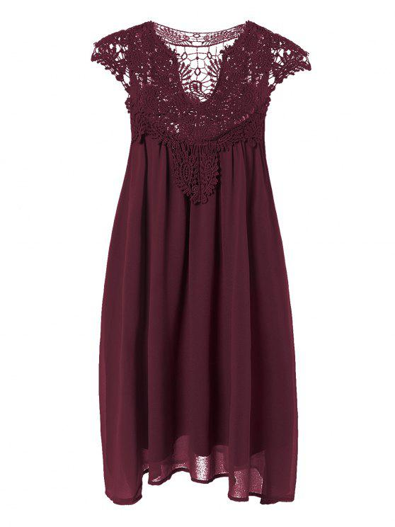 lady Plus Size Lace Chiffon Dress - CLARET 3XL