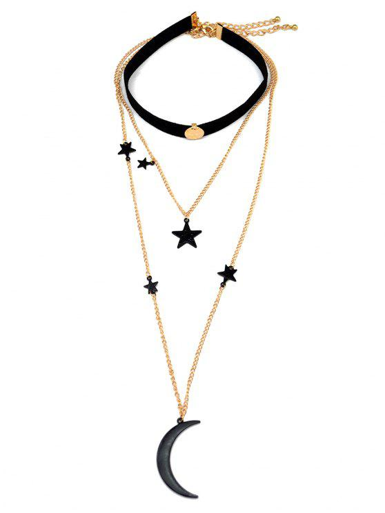 fancy Moon and Star Pendant Chokers - BLACK
