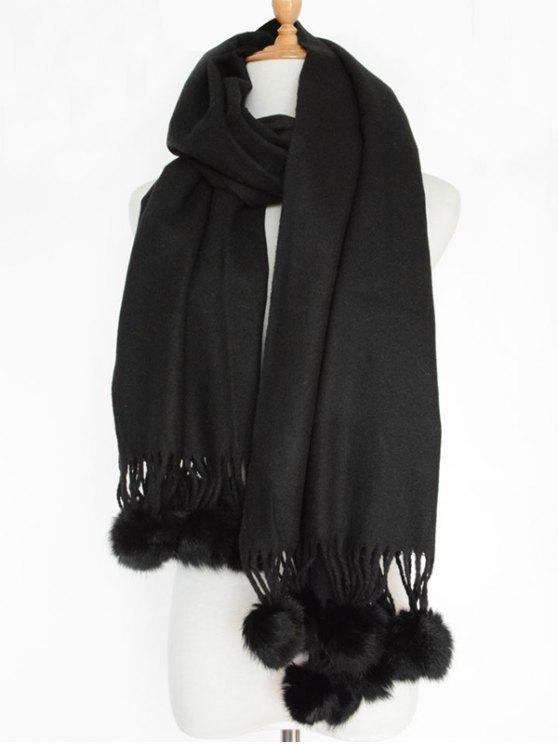 Pequeña bola borrosa mantón sólido de la bufanda - Negro