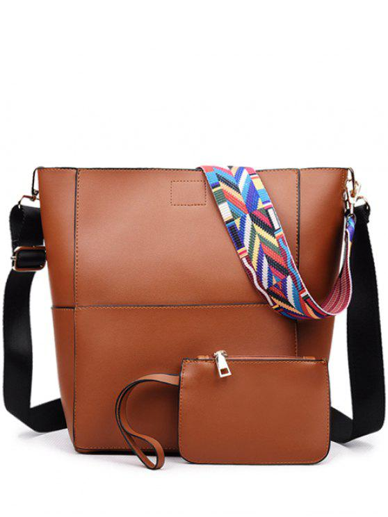 hot Print Strap PU Leather Crossbody Bag - BROWN