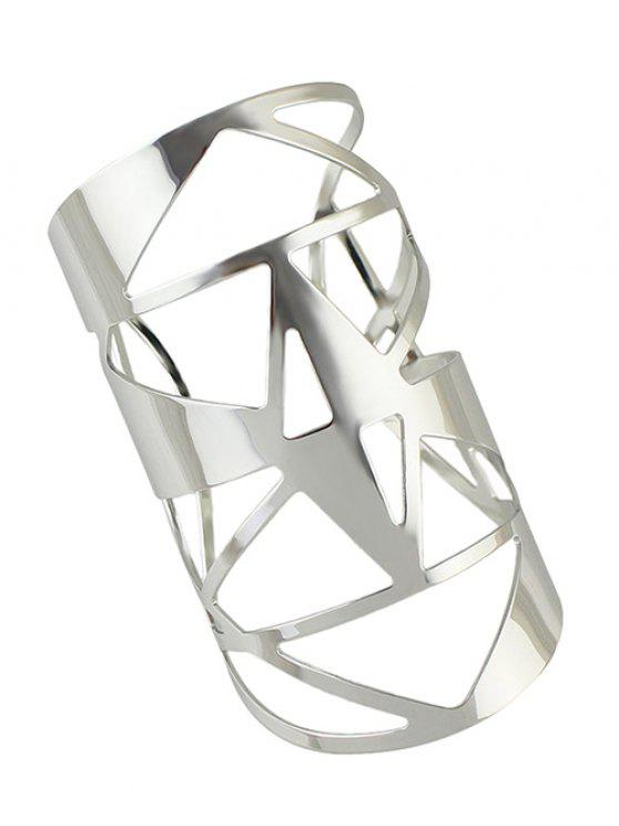 outfit Hollow Out Cuff Geometric Bracelet - SILVER