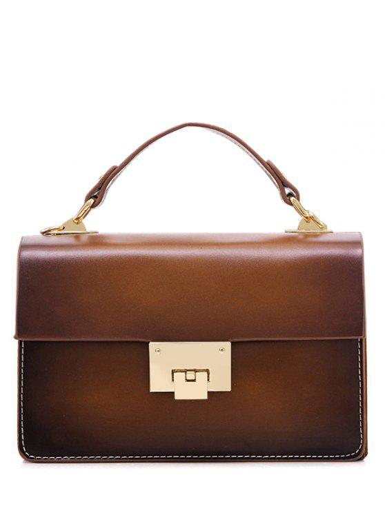 trendy Vintage Hasp Stitching Tote Bag - BROWN