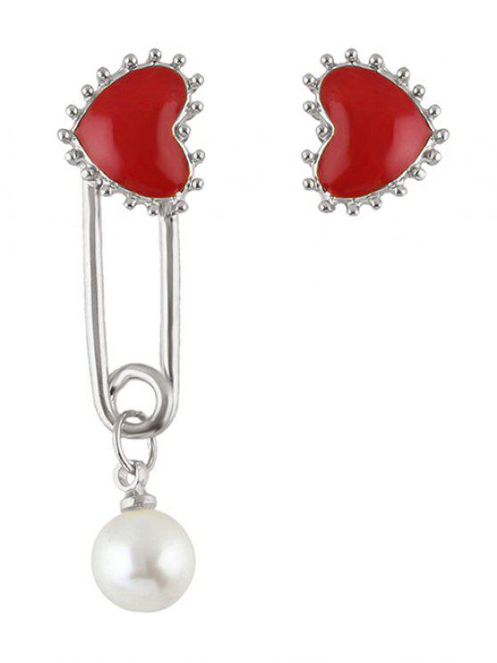 new Faux Pearl Asymmetric Heart Earrings - SILVER