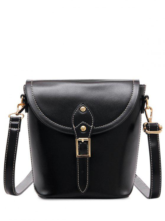 shops Vintage Buckle PU Leather Crossbody Bag - BLACK