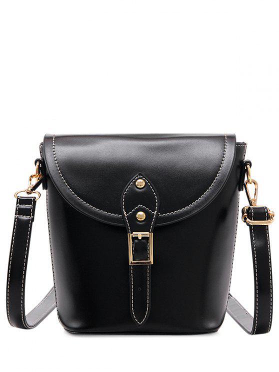خمر مشبك بو الجلود حقيبة كروسبودي - أسود