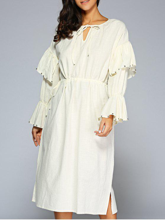outfits Flare Sleeve V Neck Midi Dress - LIGHT APRICOT ONE SIZE