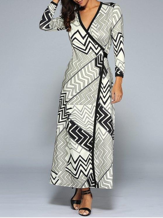 27 Off 2020 Zig Zag Long Sleeve Wrap Maxi Dress In Colormix Zaful