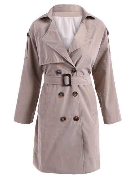 online Double-Breasted Belt Trench Coat - KHAKI M