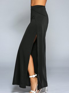 High Slit Wide Leg Pants - Black S