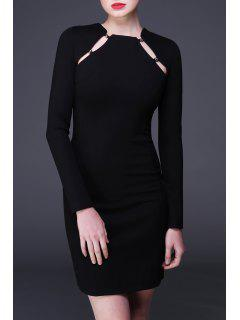 Hollow Out Mini Long Sleeve Tight Dress - Black S