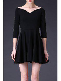 Mini Waisted A Line Dress - Black S