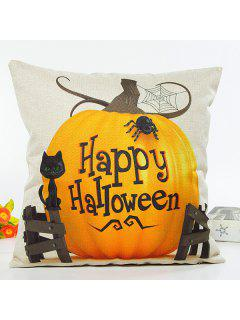 Happy Halloween Letter Pumpkin Cat Design Cushion Pillow Case - Beige