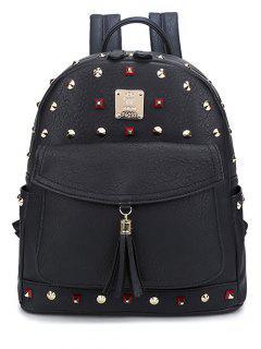 Tassels Magnetic Closure Rivets Backpack - Black