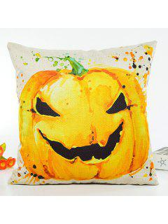 Halloween Pumpkin Printing Design Sofa Cushion Pillow Case - Beige