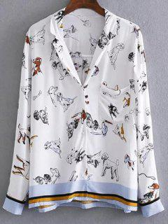 Loose Dog Print Blouse - White M