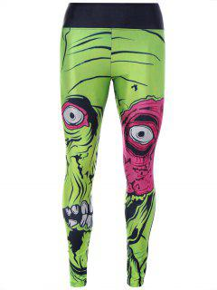 Monster Print Sporty Leggings - Green