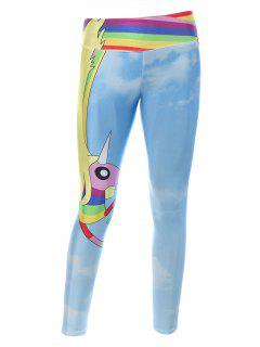Cartoon Adventure Time Print Skinny Gym Leggings - Light Blue
