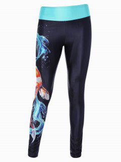 Fancy Carp 3D Print Skinny Sporty Leggings - Black
