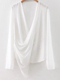 Asymmetric Wrap Chiffon Blouse - White S