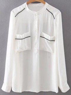 Double Pockets Chiffon Shirt - White S
