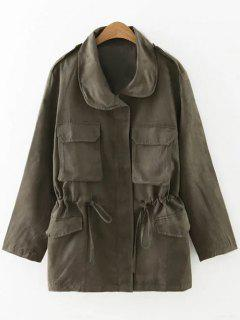 Drawstring Faux Suede Trench Coat - Blackish Green S