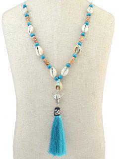 Tassel Pendant Sea Shell Necklace - Lake Blue