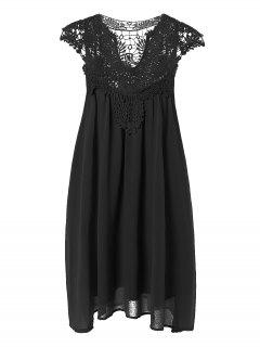 Plus Size Lace Chiffon Dress - Black 3xl