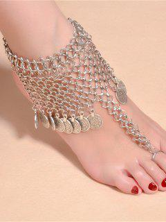 Round Coins Tassel Pendant Anklet - Silver