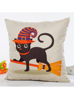 Halloween Cat Witch Cartoon Sofa Cushion Pillow Case - Beige