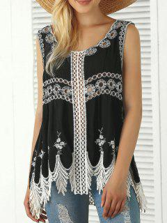 Bohemian Embroidered Crochet Fringed Tank Top - Black
