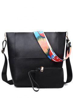 Print Strap PU Leather Crossbody Bag - Black