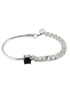 Vintage Faux Crystal Chain Geometric Bracelet - Silver