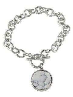 Round Faux Rammel Charm Bracelet - Silver