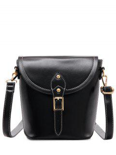Vintage Buckle PU Leather Crossbody Bag - Black