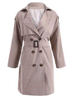 Double-Breasted Belt Trench Coat - Khaki S