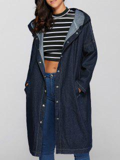 Loose Fitting Hooded Big Pockets Denim Long Coat - Blue