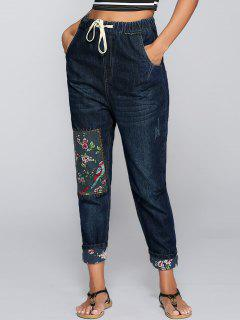 Drawstring Floral Patch Jeans - Deep Blue S