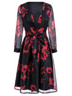 Floral Print Belted Swingy Dress - Red M
