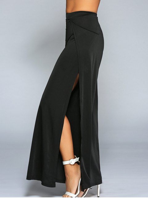 Haute Slit Pantalon large - Noir S Mobile