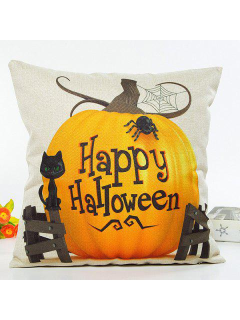outfits Happy Halloween Letter Pumpkin Cat Design Cushion Pillow Case - BEIGE  Mobile