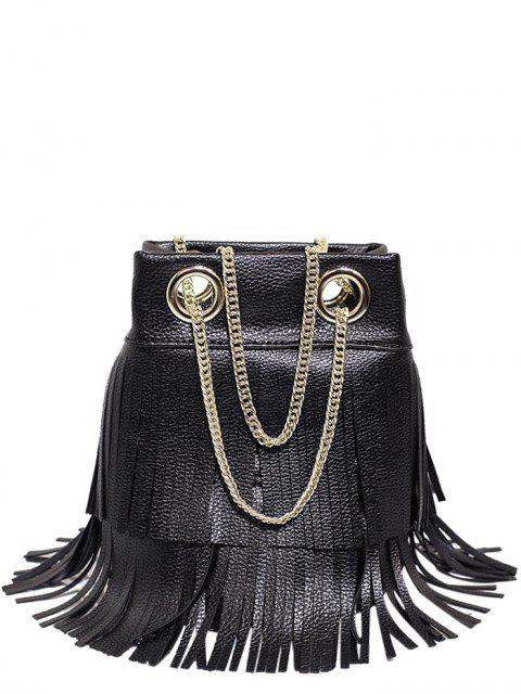 women Chain Fringe PU Leather Crossbody Bag -   Mobile