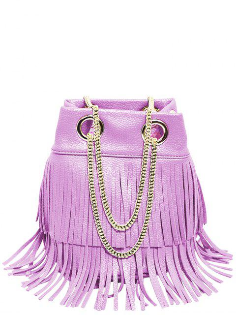 ladies Chain Fringe PU Leather Crossbody Bag - PURPLE  Mobile
