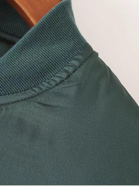 chic Zip-Up Satin Jacket - BLACK S Mobile