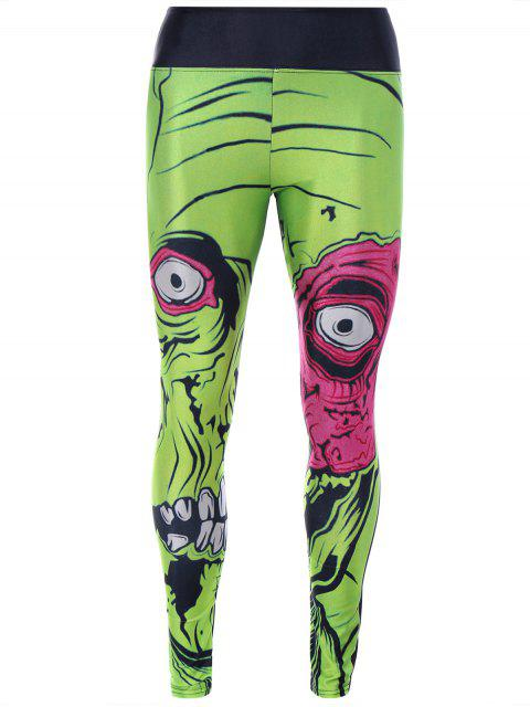 fancy Monster Print Sporty Leggings - GREEN ONE SIZE Mobile