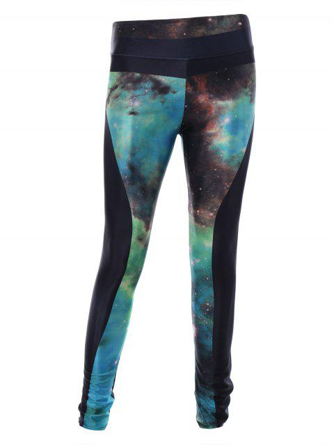 chic Starry Sky Print 3D Skinny Sporty Leggings - BLACK ONE SIZE Mobile