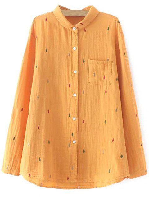 buy Loose Embroidered Shirt - ORANGE YELLOW 2XL Mobile